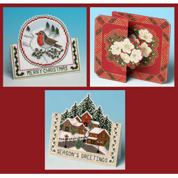 3D Christmas Cross Stitch Card Kits Set 2 - Christmas Robin, Christmas Village & Christmas Rose