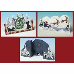 3D Christmas Cross Stitch Card Kits Set 3 - Sleigh Ride, Bethlehem Night & Scottie Christmas