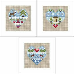 Festive Hearts Cross Stitch Christmas Card Kits - Set Of 3