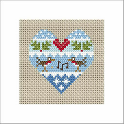 Festive Heart Robins Cross Stitch Christmas Card Kit