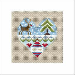 Festive Heart Rudolph Cross Stitch Christmas Card Kit