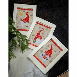 Happy Gnomes Cross Stitch Christmas Card Kits Set Of 3