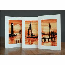 Sunset Cross Stitch Card Kits Set of 3