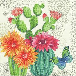 Cactus Blooms Cross Stitch Kit