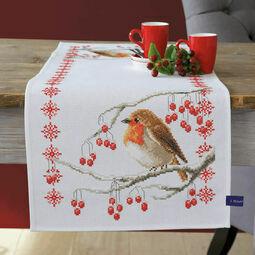 Robin & Berries Cross Stitch Table Runner Kit