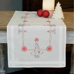 Christmas Trees On White Embroidery Table Runner Kit
