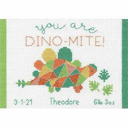 Dino-Mite Birth Record Cross Stitch Kit