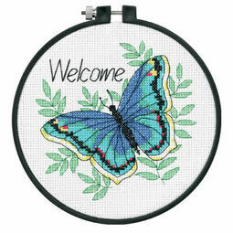 Welcome Butterfly Learn-A-Craft Counted Cross Stitch Kit With Hoop