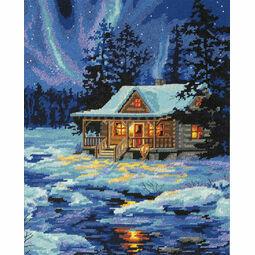 Winter Sky Cabin Tapestry Kit