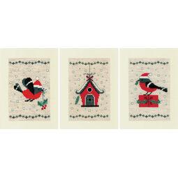 Bird House Cross Stitch Christmas Card Kits (Set of 3)