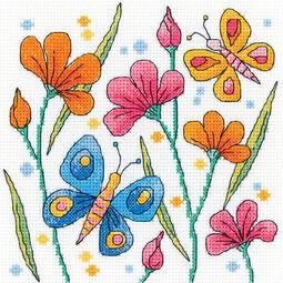 Blue Butterfly Cross Stitch Kit