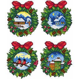 Christmas Wreath Cross Stitch Ornaments Kit (Set of 4)