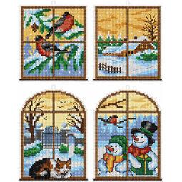 Winter Window Cross Stitch Ornaments Kit (Set of 4)
