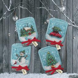 Christmas Jar Ornaments Cross Stitch Kit