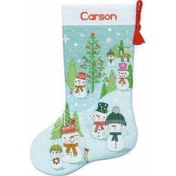 Snowman Family Cross Stitch Stocking Kit