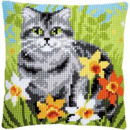 Cat Between Flowers Chunky Cross Stitch Cushion Panel Kit