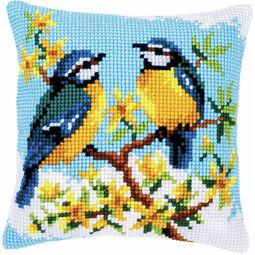 Blue Tits Chunky Cross Stitch Cushion Panel Kit