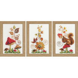 Autumn Idyll Miniatures Cross Stitch Kit (Set of 3)