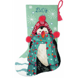 Fuzzy Penguin Stocking Tapestry Kit