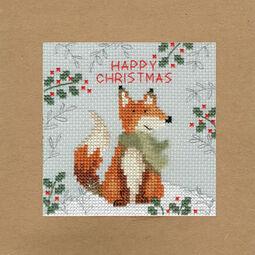 Christmas Fox Cross Stitch Card Kit