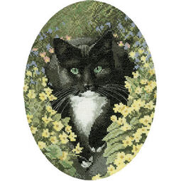 Black And White Cat Cross Stitch Kit