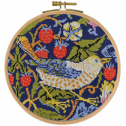 William Morris Strawberry Thief Cross Stitch Hoop Kit