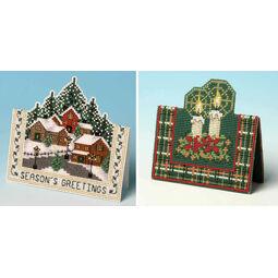 Christmas Village & Christmas Candles Set Of 2 3D Cross Stitch Card Kits