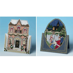 In Town For Christmas & Christmas Carols Set of 2 3D Cross Stitch Card Kits