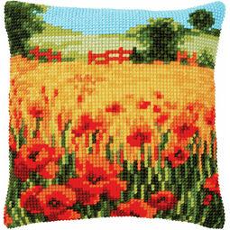 Poppies Landscape Chunky Cross Stitch Cushion Panel Kit