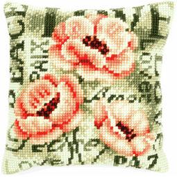 Poppy On Green Chunky Cross Stitch Cushion Panel Kit