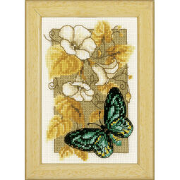 Butterfly On Flowers 2 Cross Stitch Kit With Frame