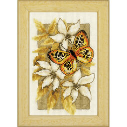 Butterfly On Flowers 3 Cross Stitch Kit With Frame