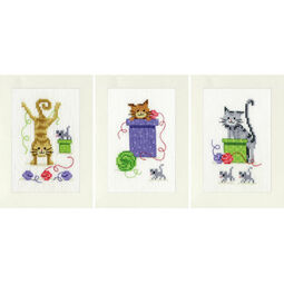 Playful Cats Set Of 3 Greetings Cards Cross Stitch Kit