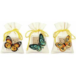 Butterflies Set Of 3 Pot-Pourri Bag Cross Stitch Kits