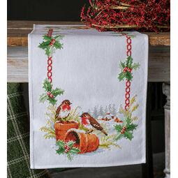 Robins On Flower Pots Table Runner Cross Stitch Kit
