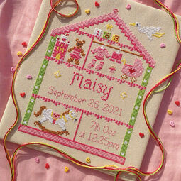 Little Girl Nursery Cross Stitch Birth Sampler Kit