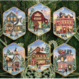 Christmas Village Cross Stitch Ornaments Kit (Set of 6)