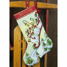 Sledding Snowmen Stocking Cross Stitch Kit