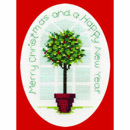 Holly Tree Cross Stitch Christmas Card Kit