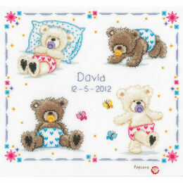Popcorn Bear - First Steps Birth Sampler Cross Stitch Kit