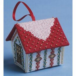 Red & Gold Gingerbread House 3D Cross Stitch Kit