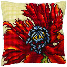 Extravagant Poppy Cushion Panel Cross Stitch Kit