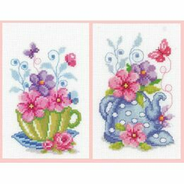 Set of 2 Green Tea Cup & Blue Teapot Cross Stitch Kits