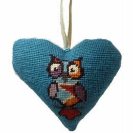 Funky Owl Lavender Tapestry Heart