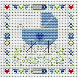 Blue Pram Cross Stitch Card Kit