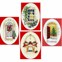 Home Collection Set Of 4 Christmas Card Cross Stitch Kits