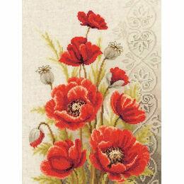 Poppies & Swirls Cross Stitch Kit