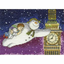 Snowman & The Snowdog Flying Past Big Ben Cross Stitch Kit