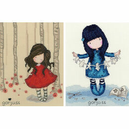 Gorjuss Set Of 2 - Poppy Wood & I Found My Family In A Book Cross Stitch Kits