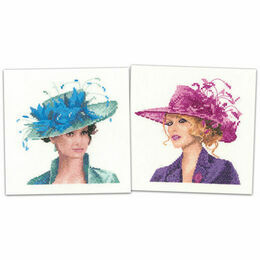 Set Of 2 Elegance Miniature Portrait Cross Stitch Kits - Josephine & Sarah